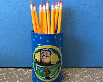 PENCIL HOLDER KPC174/Pencils/Pens/Markers/Brushes/Flowers/Money/Candy/Gift/Toy Holder (Toy Story Fabric)