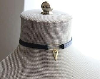 Black Choker. Geometric Choker. 9 Leather Colors Available