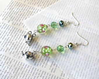 Green Floral Tea  Dangle  Earrings Miniature Teapot Kettle