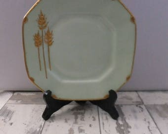 B&C Limoges France Plate Celedon Green with Gold Wheat Octagon 7.25 Luncheon Salad Small