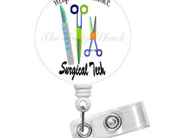 Surgi Tech Retractable Badge Reel - Name Badge Holder - Cute  Badge Holder - Surgical Technician Nurse Badge - Surgical Tech Badge Holder