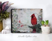 Cardinal is near wall art canvas red cardinal print 16x20 8x10 11x14 inches large piece signs from heaven sacred hellos loved ones near