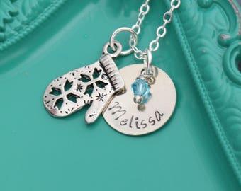 Winter Jewelry Christmas Necklace • Winter Mittens Charm Winter Necklace • Snowflake Jewelry • Girls Name Custom Birthday January • WI17