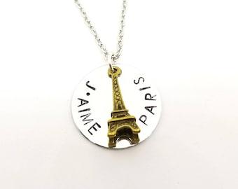 J'aime Paris Eiffel Tower Necklace | Silver Stamped Necklace | Paris France Necklace