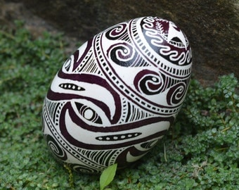 Cucuteni design Trypillian culture Pysanka goose egg gift for boss small affordable sculpture with design elements of Neolithic era pottery