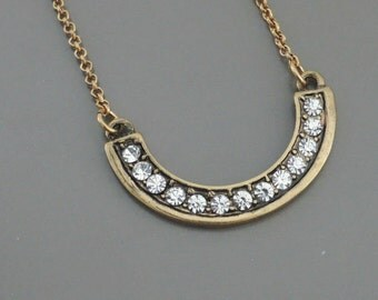 Crescent Necklace - Layered Necklace - Antiqued Gold Necklace - Crystal Necklace - handmade jewelry