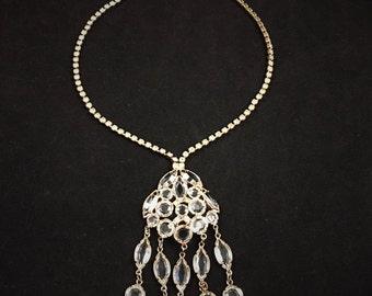 Juliana Style Rhinestone Necklace, Vintage Jewelry, Vintage Necklace, Clear Rhinestone Jewelry, Bezel Set Waterfall Necklace Tassel Necklace