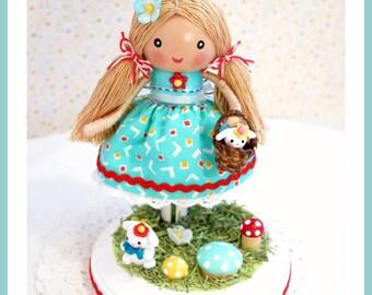 Cake Topper, Clay Cake Topper, Happy Birthday Cake Topper, Birthday Cake Decorations, Kids Cake Topper,Clothespin Doll Décor, Garden , Bunny