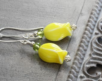 Yellow Tulip Flower Earrings on Silver Plated Hooks (Vintage Glass Beads)
