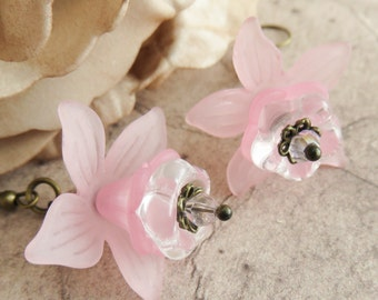 Pink flower earrings, bronze dangle earrings, romantic jewelry, floral earrings, gift for her, pink jewelry