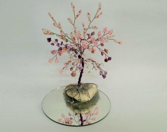Amethyst Gemstone tree, wire tree sculpture, beaded  tree,  bonsai  wire tree, tree of life , feng shui tree , purple and pink tree,wire art
