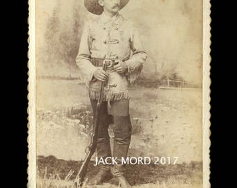 1880s Cabinet Card Photo - Wild West Show with Rifle