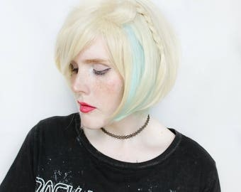 Short wig | Blonde wig, Pastel Rainbow wig with braid | Cute Bob wig, Blond bob wig, Short Blonde wig | Candy Clouds