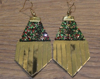 Holiday Titan Leather Earrings - Shiny Gold and Holiday Glitter