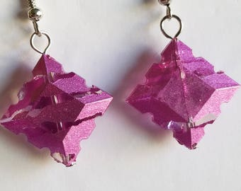 pink squared earrings