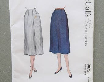 Vintage McCall's 9875 Sewing Pattern, 1950s Skirt Pattern, 1950s Sewing Pattern, Straight Skirt Pattern, Waist 28, Midcentury Skirt Pattern