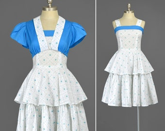 60s Party Dress Set • Blue White Floral Dress with Bolero Jacket • Fit and Flare 1960s Dress • Floral Sundress • Full Skirt Tiered Dress