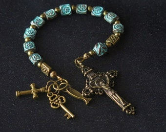 Rosary - One Tenth of a Rosary - Patina Antique Square Beads - Bronze Crusfix - Bronze Charms