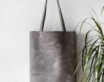 Xmas SALE Distressed Light Grey Leather Tote bag No.Tl- 17064