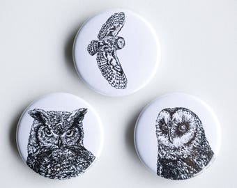 "Owl pins - bard owl horned owl Pin-Back Buttons - Set of 3 Pin-Back Buttons - 1.5"" - Woodland pin Animal pin Pingame Badges"