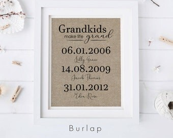 Grandkids Make Life Grand • Gift for Grandma & Grandad • Personalized Fabric Print • Grandparents Gift • Mother's Day Gift from Grandkids