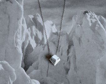 """Iceberg Pendant (smaller, melting) - """"Ode to Ice"""" - Sterling Silver - Climate Change, Environmental Jewelry"""