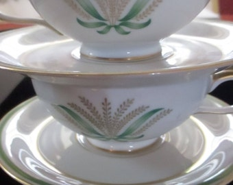 Two Vintage Porcelain Teacups Baronet China Germaine Eschenbach Bavaria Germany Matching Cups and Saucers Made in Germany DiningEntertaining
