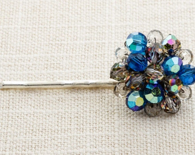 Blue AB Iridescent Sparkly Hair Clip Embellished Bobby Pin Handmade in USA Hair Pins 16V