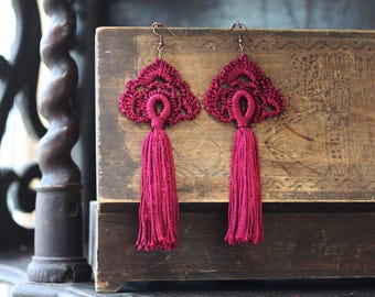 Tassel earrings Crochet jewelry Long dangling earrings Burgundy Yellow Lime green Cream white  Hippie Boho chic Bohemian wedding bridesmaid