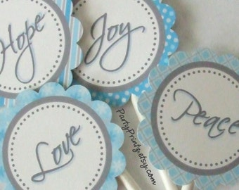 INSTANT DOWNLOAD - Printable - Christmas Cupcake Toppers & Favor Tags - Peace, Love, Joy, Hope