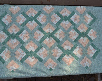 """Peach/aqua quilt top (only) 54"""" x 66"""" TWO available"""