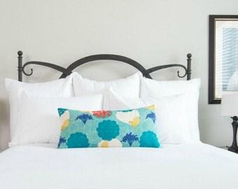 Long Lumbar Pillow Teal Garden Party / Aqua Red Yellow / Long Lumbar Pillow / Square Throw Pillow / Linen Pillow / Bird Motif