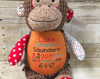 Embroidered monkey etsy monkey birth stat stuffed animal personalized stuffed animal personalized baby gift baby keepsake negle Image collections