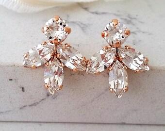 Rose gold Bridal earrings,Clear crystal stud earrings,Bridesmaid gift,Petite crystal earrings,white Cluster earring,Vintage Bridal earrings