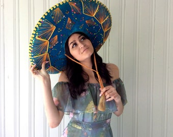 vintage Sombrero Mexican Pigalle Traditional large blue Velvet sparkly and glam Mariachi Band Hat