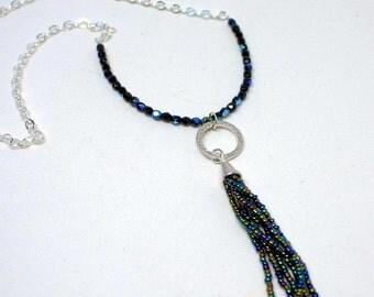Beaded Tassel Pendant Necklace, Boho Necklace, Tassel Jewelry, Bohemian Jewelry, Tassel Necklace