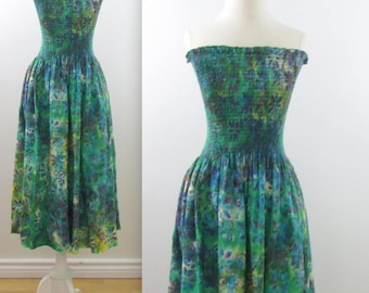 Summer Siren Sundress - Vintage 1980s Green Tie Dyed Strapless Summer Dress in Small Medium