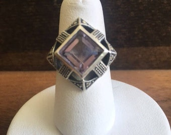 Sterling Silver Marcasite Ameythst  Ring with Free Shipping in US