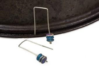 Small Silver earrings, Dangle earrings, Sterling Silver Earrings, Everyday Earrings, Modern Sterling Silver Earwires, Blue Bead Earrings