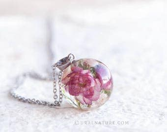 Flowering almond and Baby's breath dried flowers Necklace -  Blooming Spring inspired jewelry - Valentine's day gift for the loved ones