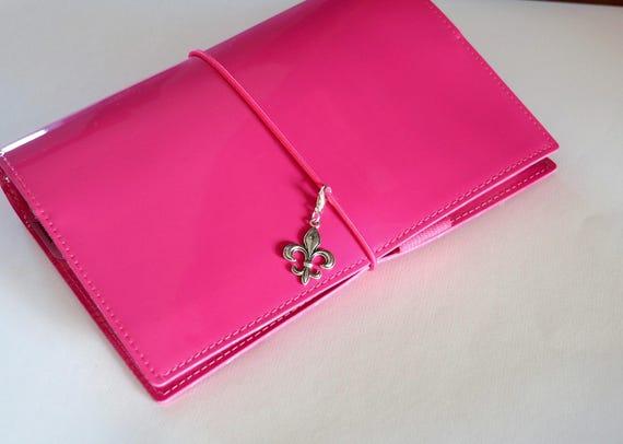 Planner charms travelers notebook fleur-de-lis charm with enamel TN accessories Traveler's notebook zipper purse bag