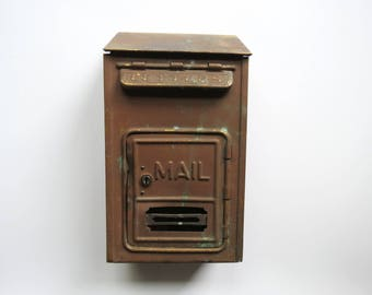 Antique Brass Mailbox // Rustic Dark Metal Wall Mount Mail Bin Porch Style Curb Appeal Decor Industrial Office Organizer Home Restoration