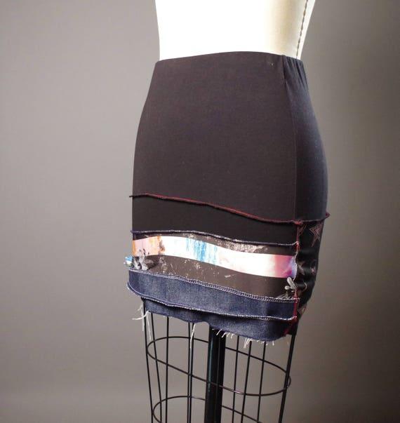 Upcycled Summer Skirt - Summer MIni Skirt - Patchwork Skirt - Skull - Funky - Street Wear