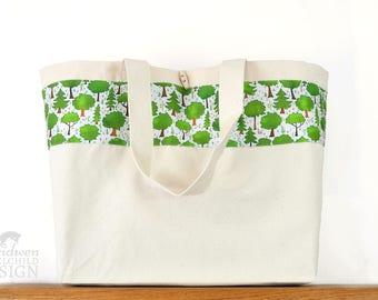 Woodland Trees Large Tote Bag, Canvas Tote, Reusable Shopper Bag, Cotton Tote, Shopping Bag, Eco Tote Bag, Reusable Grocery Bag