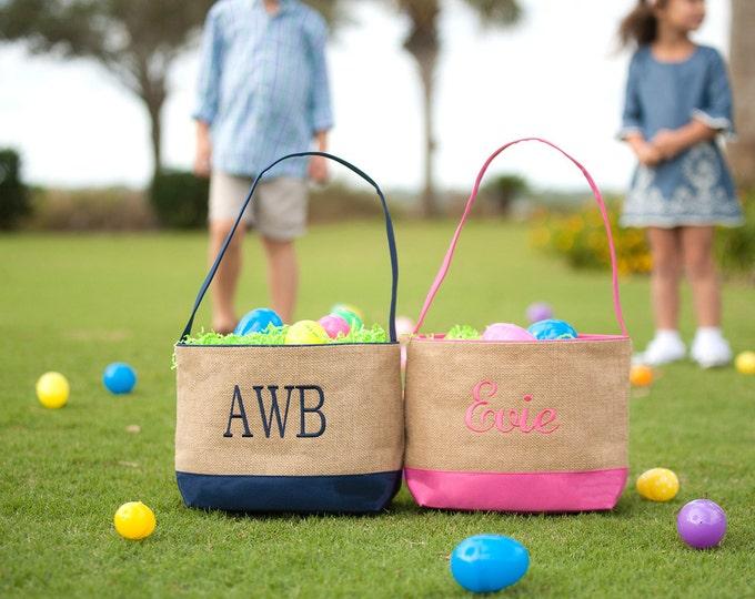 Monogrammed Easter Basket, Monogram Easter Basket, Personalized Easter Basket, Burlap Easter Baskets