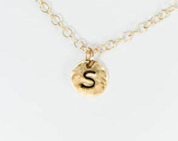 1/4 inch 14k Gold Fill Disc Initial Necklace