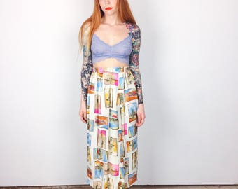 High Waisted Vintage Watercolor Paintings Lightweight Long Maxi Skirt // Women's size XS Small S Petite