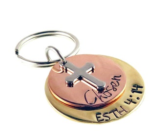 Hand Stamped Scripture Religious Key chain   Esther 4:14 Chosen   Baptism Gift   Bible Verse Key Ring   Gifts for Everyone