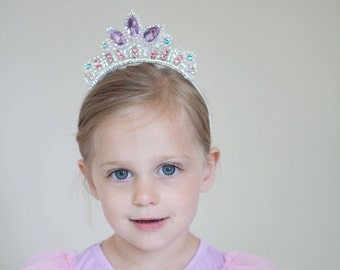 Rapunzel Crown- Tangled inspired Princess crystal rhinestone and beaded crown headband tiara