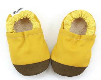 mustard yellow shoes yellow booties soft sole shoes with rubber soles rubber toe shoes toddler slippers mustard yellow and brown moccs baby